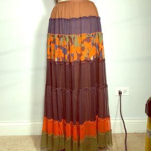 BCBGmaxazria Tiered Chiffon Boho Gypsy Maxi Skirt